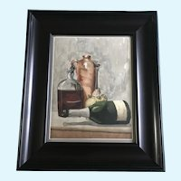 Pauline Frank, Wine Bottle Still Life Watercolor Painting Signed by Artist 1882
