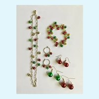 Christmas Necklace, Bracelet and Earrings Bells and Balls Holiday Set