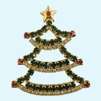 Rhinestone Encrusted Christmas Tree Brooch Pin