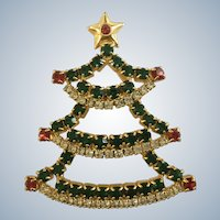 Rhinestone Encrusted Christmas Tree Brooch Pin