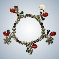 Christmas Bracelet Silver-Tone with Charms Snowflakes, Bells and Snowman