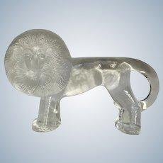 "Lion Kosta Boda Swedish Art Glass Paperweight Zoo Series Designed by Renowned Artist Bertil Vallien 10"" Size"