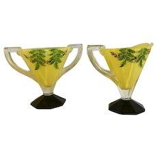Indiana Glass Yellow Leaves Foliage Hand Painted Creamer & Sugar Bowl Vintage Mid-Century Set