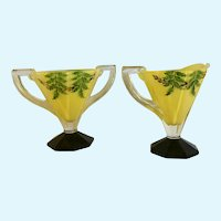 Mid-Century Indiana Glass Yellow Leaves Foliage Hand Painted Creamer & Sugar Bowl Set