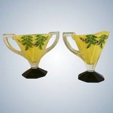 Mid-Century Indiana Glass Yellow Leaves Foliage Hand Painted Creamer & Sugar Bowl Set