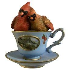 Red Cardinal Teacup Figurine You Are My Sweet tea Thomas Kinkade Tea-Lightful Tweet Treats Collection 2013