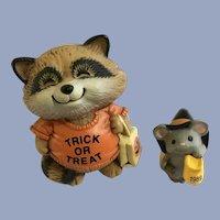 Halloween Raccoon & Mouse Hallmark Merry Miniatures Shirt Tales Figurines
