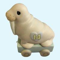 Walrus Precious Moments Train Car 14th Birthday Large #116945 Figurine