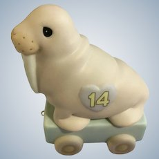 Walrus Precious Moments Train Car 14th Birthday It's Your Birthday Live it Up Large #116945 Figurine