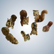 Bone China Miniatures Squirrels Mixed Bunch of 7 Figurines Group