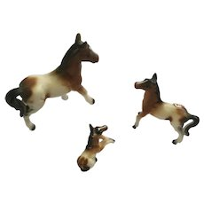 Bone China Miniatures Horses Brown and White Family Figurines Set