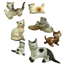 Bone China Miniatures Cat Figurines Family Group of 7
