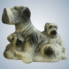 Vintage Schnauzer Dog with Her Puppies Early Japan Animal Figurine