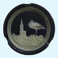 Regensburg Germany Ashtray Blue Grey Pottery Stork on Roof Signed DAlzan