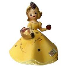 Josef Originals November Girl Figurine with Harvest Fruit Basket Japan