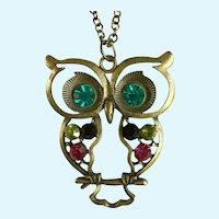 """Owl Multicolored Rhinestones Brass Color Pendant Necklace 32"""" Chain"""