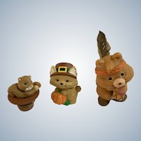 Merry Miniatures Thanksgiving Autumn Figurines Pilgrims and Indian Group of 3, Hallmark Cards