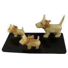 Celluloid Cream Colored Scottie Dogs Family Animal Figurines Circa 1930's