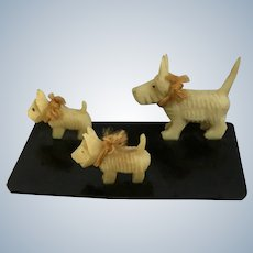 Celluloid Cream Colored Scottie Dogs Family Animal Figurines Circa 1930's