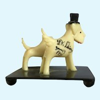 Celluloid Puppy Dog Scottish Terriers Pair with Top Hat Animal Figurines 1938