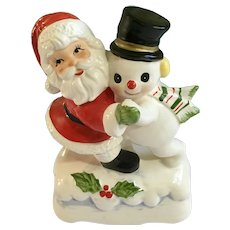 Christmas Santa Claus & Frosty the Snowman Dancing Music Box Made in Japan Ceramic
