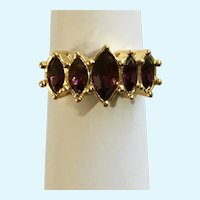 Avon Purple Amethyst Colored Ring Gold-tone Size 6-1/2