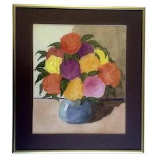 Floral Watercolor Art Painting Signed by Artist R. Nov, 1992 Frosted Glass Picture
