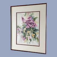 Loraine Miller, Purple Rose Watercolor Painting Signed By Colorado Artist