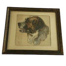 Lillie Terrell, Saint Bernard Dog Portrait Watercolor Painting 1887