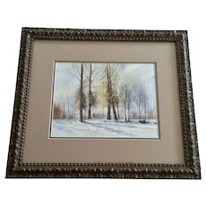 Marion Haws, Snow Covered Forest Landscape Watercolor Painting