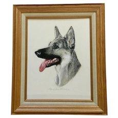 Helen Crosbie Hennessey, German Shepherd Dog Original Pastel Signed by Artist