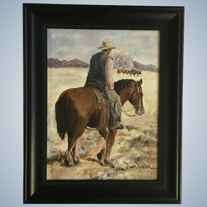 Anne Miner Cowboy Wrangling Cattle Oil Painting Signed By Artist