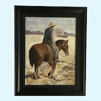 Anne Miner, Cowboy Wrangling Cattle Oil Painting Signed by Artist
