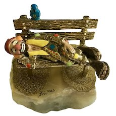 Ron Lee Sculpture Clown Sleeping on Park Bench Quartz Stone Early Limited Edition 1987