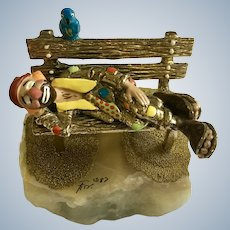 Vintage Ron Lee Sculpture Clown Sleeping on Park Bench With Bluebird, Quartz Stone Early Limited Edition 1987