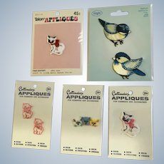 1970's Cat Appliques Group of 5