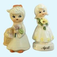 Bone China Miniature Spring Girls Holding Flowers