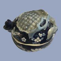 Pomegranate Spice Flower Tea Jar Vintage China, Signed