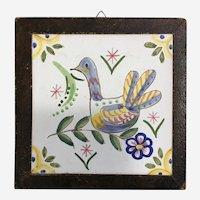 Vintage Polychrome Tile Trivet Hand Painted Duck or Partridge