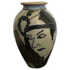Japanese Sukeroku Kabuki Folk Art Samurai Warrior Stoneware Pottery Vase Signed by Artist Tonyトニー