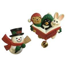 Christmas Snowman & Carolers Hallmark Hard Plastic Pins