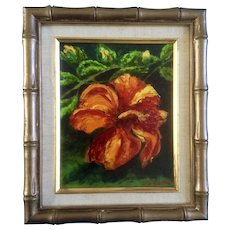 Frank L. Rappa, Oil Painting, Tropical Hibiscus Flower, Oil Painting on Canvas Board Signed by Colorado Artist 1978