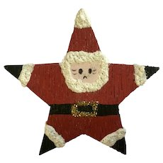 Wooden Country Christmas Santa Claus Star Pin Brooch Hand Painted