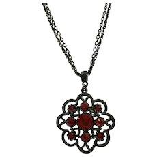 Red Rhinestone Pendant Necklace 1928 Co. Black 2 Strand Chain