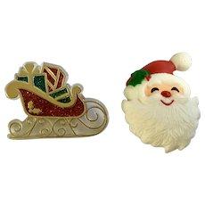 Santa Claus and Sleigh Christmas Brooch Pins Hallmark Cards 1980's