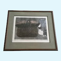 Danny Phifer Limited Edition Etching, Setting II, Flower Basket with Goose