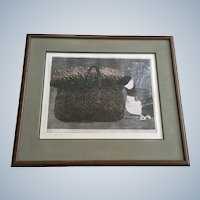 Danny Phifer Limited Edition Etching, Setting II, Flower Basket with Goose Signed by Artist