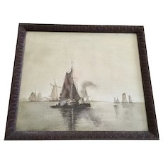 Sailboats Sailing in a Dutch Harbor Nautical Watercolor Painting Monogrammed D