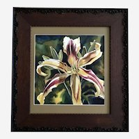 Star DayLily Flower Watercolor Painting Signed Illegibly