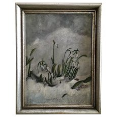 White Snow Flowers Antique Oil Painting